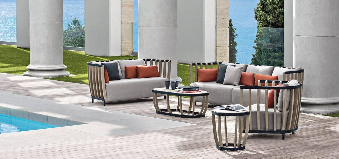 Canapé de jardin, d\'extérieur, design en teck et aluminium ...