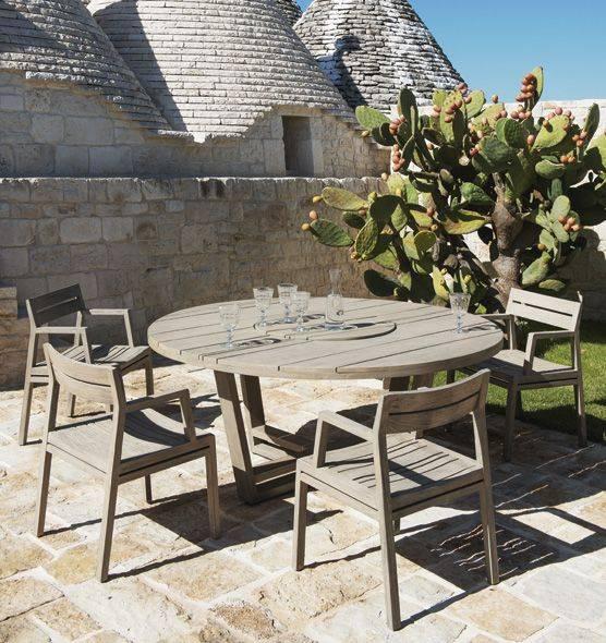 Table ronde design de jardin, en teck, avec plateau central ...